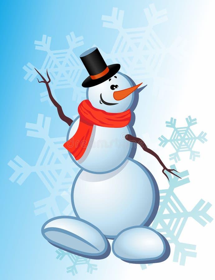 Χειμερινός χαιρετισμός από τον ευτυχή χιονάνθρωπο διανυσματική απεικόνιση