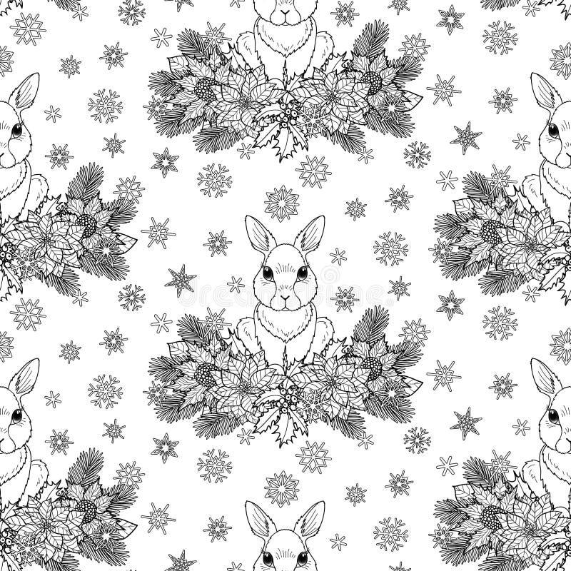 Χειμερινό άνευ ραφής σχέδιο με το κουνέλι διανυσματική απεικόνιση