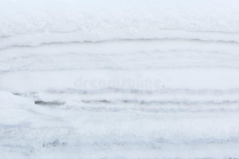 Χειμερινό άσπρο υπόβαθρο της σύστασης στρωμάτων χιονιού στοκ φωτογραφία