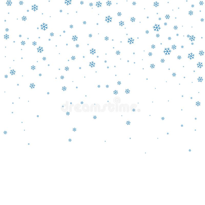 Χειμερινό άσπρο υπόβαθρο Χριστουγέννων με μειωμένα snowflakes Χριστουγέννων Μπλε κομψό υπόβαθρο Χριστουγέννων χιονοπτώσεων Ευτυχή ελεύθερη απεικόνιση δικαιώματος