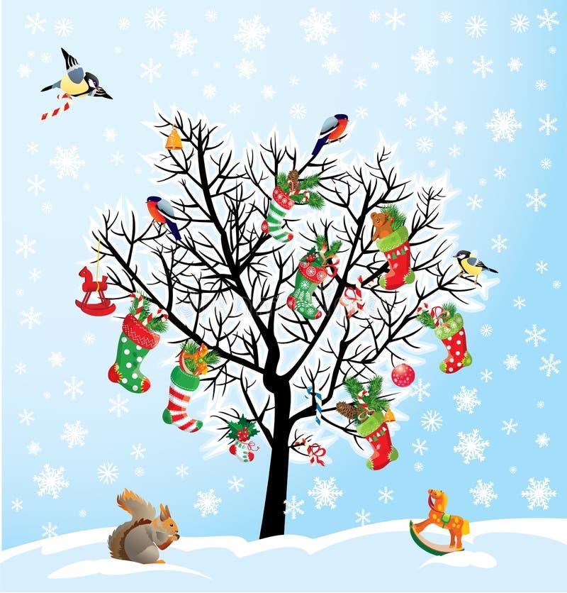 Χειμερινό δέντρο με τα πουλιά, σκίουρος, παπούτσια Χριστουγέννων, cand διανυσματική απεικόνιση