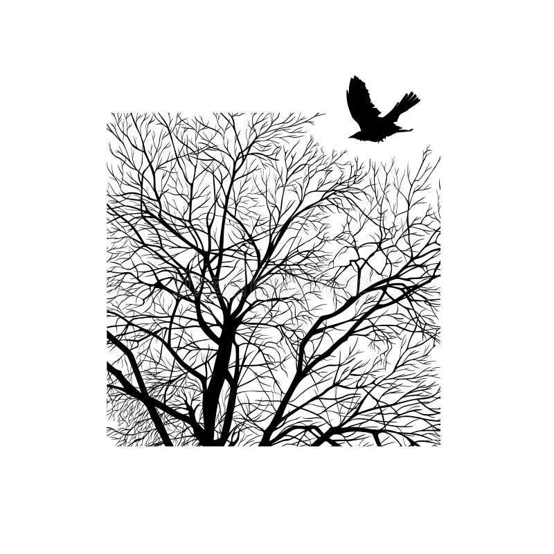 Χειμερινό δέντρο σε ένα τετράγωνο απεικόνιση αποθεμάτων