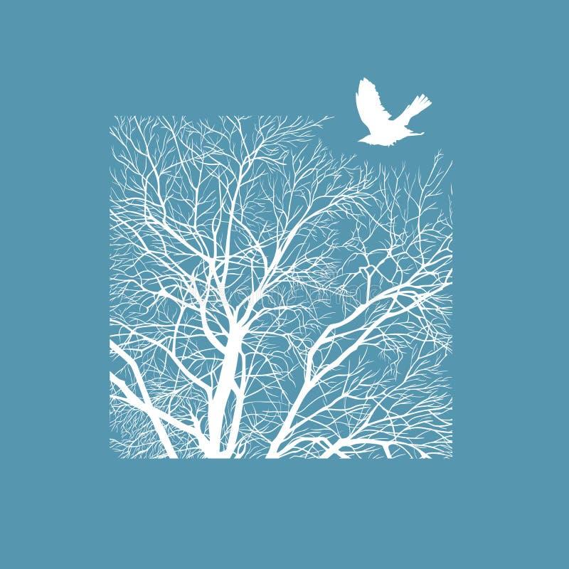 Χειμερινό δέντρο σε ένα τετράγωνο διανυσματική απεικόνιση