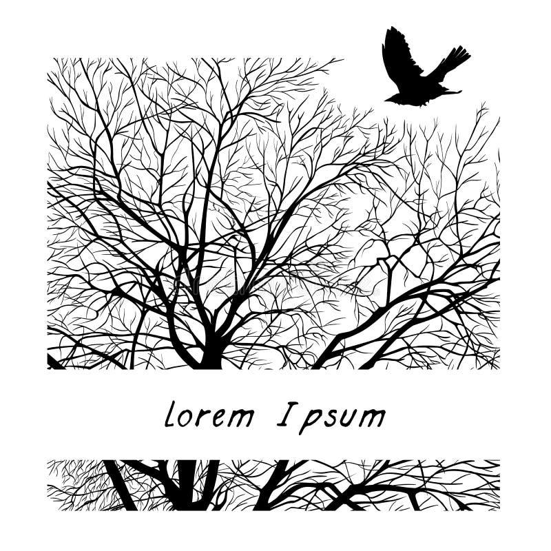 Χειμερινό δέντρο σε ένα τετράγωνο ελεύθερη απεικόνιση δικαιώματος