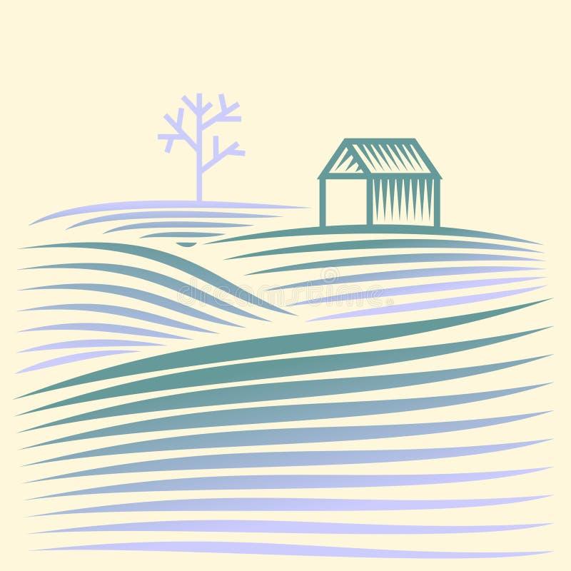 Χειμερινό αγροτικό τοπίο με τα πεδία και το σπίτι ελεύθερη απεικόνιση δικαιώματος