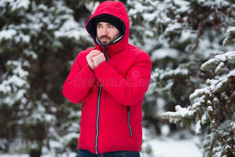 Χειμερινό αρσενικό πορτρέτο Το νέο γενειοφόρο άτομο που προσπαθεί να θερμάνει το κρύο του παραδίδει το χειμερινό πάρκο παγετού κρ στοκ φωτογραφία με δικαίωμα ελεύθερης χρήσης