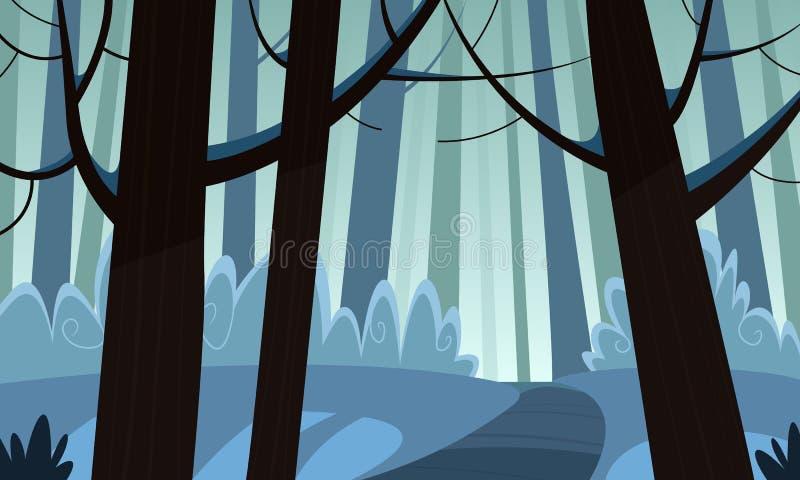 Χειμερινό δασικό ίχνος διανυσματική απεικόνιση