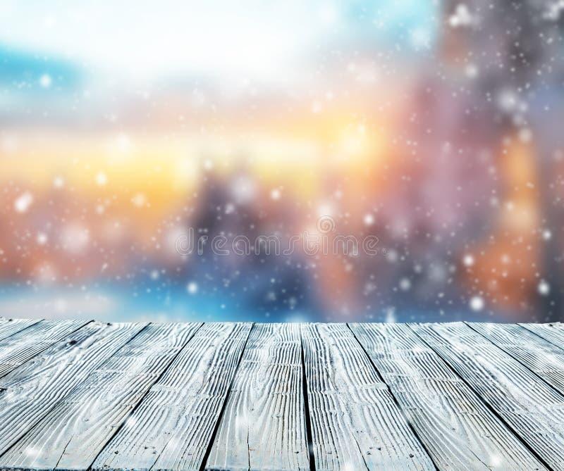 Χειμερινό αφηρημένο υπόβαθρο με τις ξύλινες σανίδες στοκ φωτογραφίες με δικαίωμα ελεύθερης χρήσης