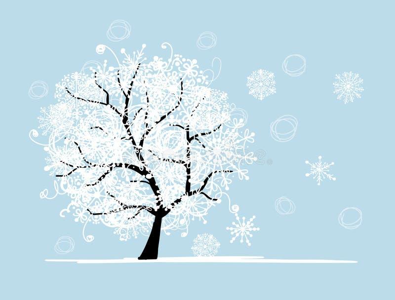 Χειμερινό δέντρο για το σχέδιό σας. Διακοπές Χριστουγέννων. ελεύθερη απεικόνιση δικαιώματος