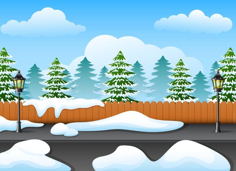 Χειμερινό δασικό τοπίο με το δέντρο έλατου και χιονώδης στην οδό απεικόνιση αποθεμάτων