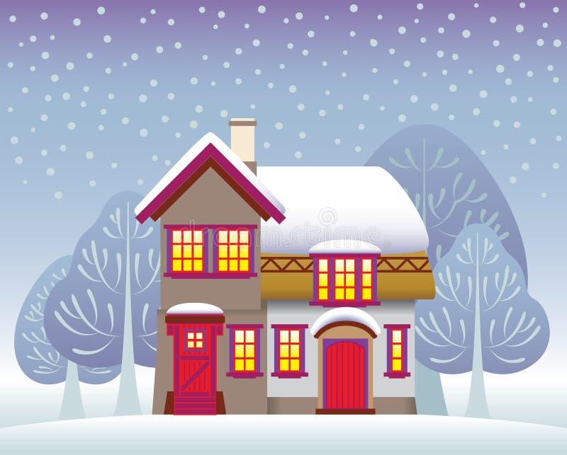 Χειμερινό εξοχικό σπίτι διανυσματική απεικόνιση