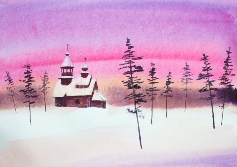 Χειμερινό ηλιοβασίλεμα και ξύλινη εκκλησία απεικόνιση αποθεμάτων