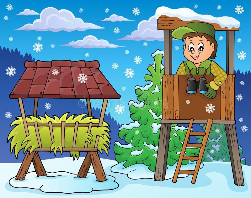 Χειμερινό θέμα 4 δασοφυλάκων απεικόνιση αποθεμάτων