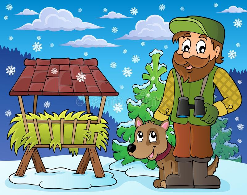 Χειμερινό θέμα 5 δασοφυλάκων απεικόνιση αποθεμάτων