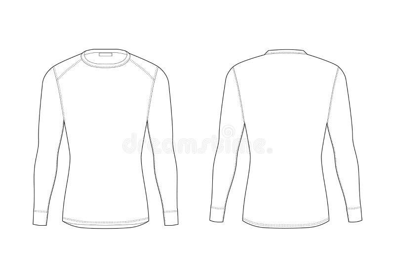 Χειμερινό θερμικό εσώρουχο ατόμων Κενά πρότυπα της μακριάς μπλούζας μανικιών απεικόνιση αποθεμάτων