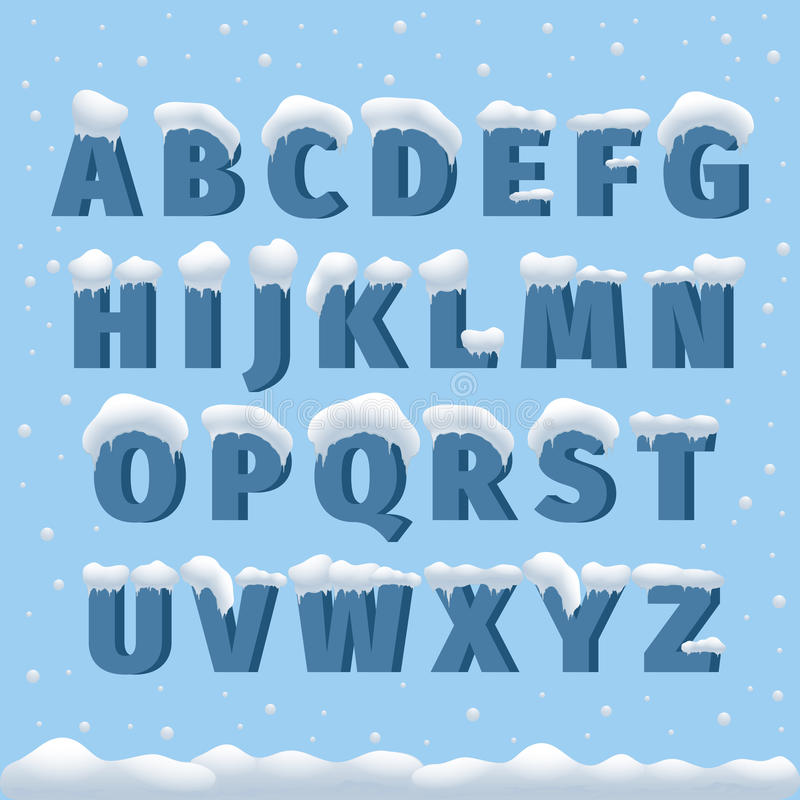 Χειμερινό διανυσματικό αλφάβητο με το χιόνι διανυσματική απεικόνιση