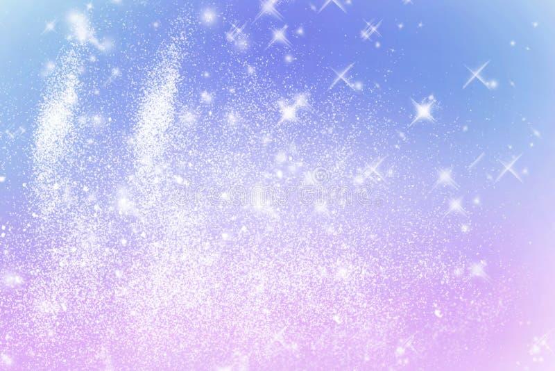 Χειμερινό λαμπρό θολωμένο snowflakes υπόβαθρο στα ανοικτό μπλε ρόδινα χρώματα Μουτζουρωμένο υπόβαθρο διακοπών Χριστουγέννων διάστ διανυσματική απεικόνιση