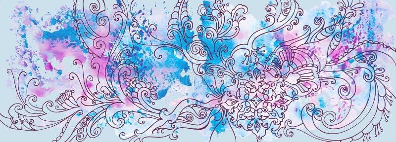 Χειμερινό μπλε υπόβαθρο με τα σχέδια και τους λεκέδες watercolor στοκ εικόνα