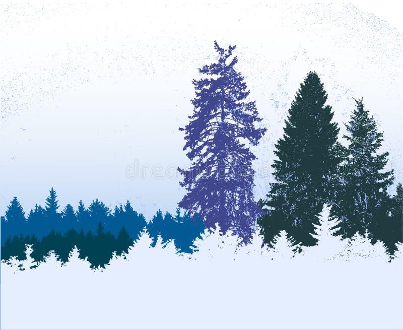 Χειμερινό μπλε, άσπρο και πράσινο χιονώδες πανοραμικό δασικό τοπίο με τα παγωμένα κωνοφόρα απεικόνιση αποθεμάτων