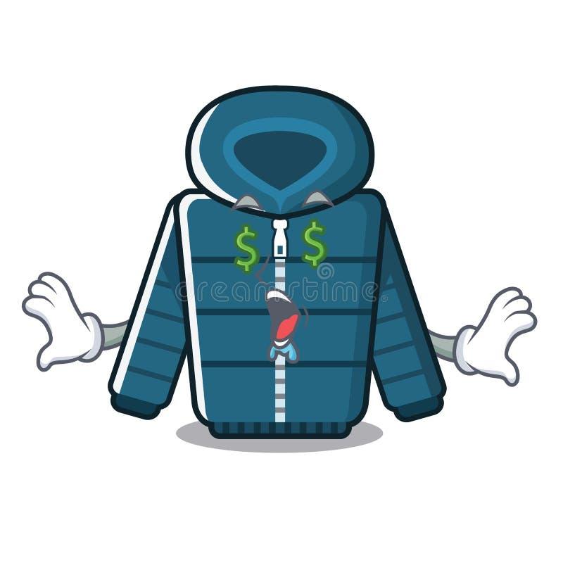 Χειμερινό παλτό κινούμενων σχεδίων ματιών χρημάτων που κρατιέται στο ντουλάπι διανυσματική απεικόνιση