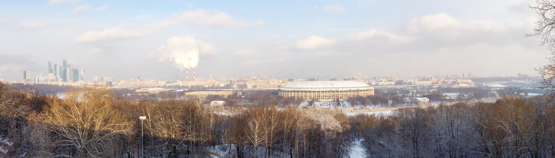 Χειμερινό πανόραμα της Μόσχας κορυφαία όψη Ρωσία στοκ φωτογραφίες