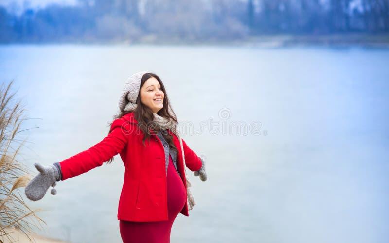 Χειμερινό πορτρέτο της όμορφης εγκύου γυναίκας στοκ εικόνες
