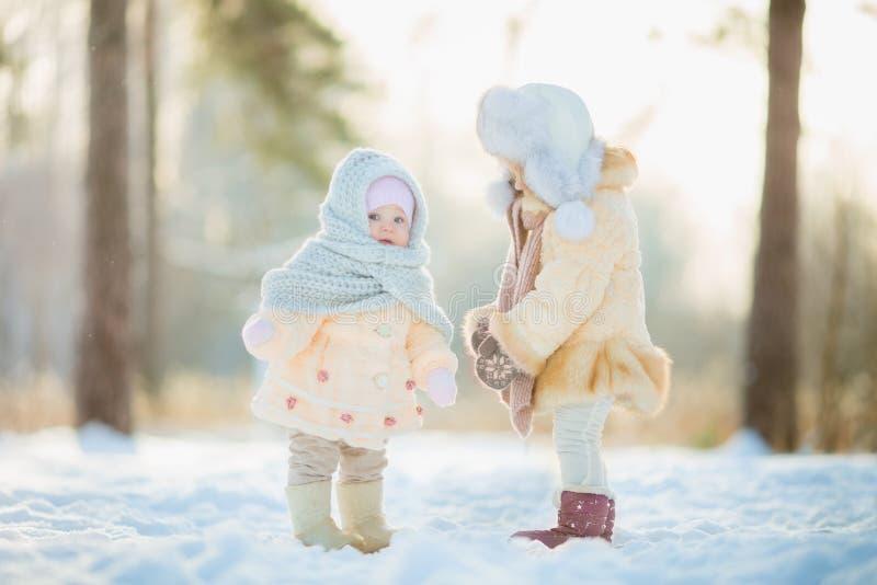 Χειμερινό πορτρέτο του μικρού κοριτσιού στο παλτό γουνών στοκ εικόνα με δικαίωμα ελεύθερης χρήσης