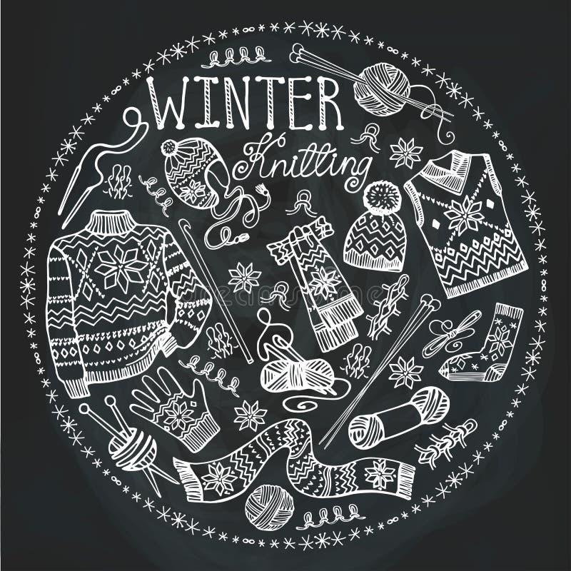 Χειμερινό πλέξιμο Doodle Σύνθεση κύκλων chalkboard διανυσματική απεικόνιση