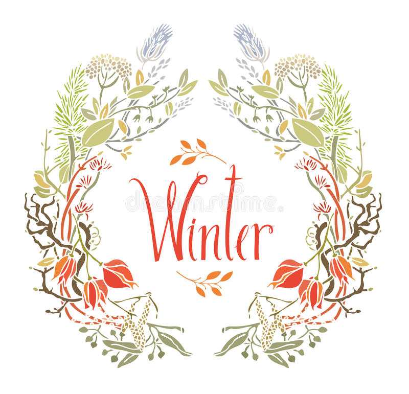 Χειμερινό πλαίσιο των φύλλων και των κλαδίσκων διανυσματική απεικόνιση