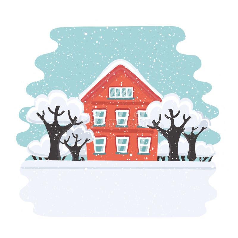 Χειμερινό σπίτι Σπίτι φθινοπώρου Οικογενειακό προαστιακό σπίτι Διανυσματική επίπεδη απεικόνιση ελεύθερη απεικόνιση δικαιώματος