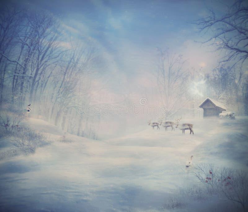 Χειμερινό σχέδιο - δάσος ταράνδων στοκ φωτογραφία με δικαίωμα ελεύθερης χρήσης
