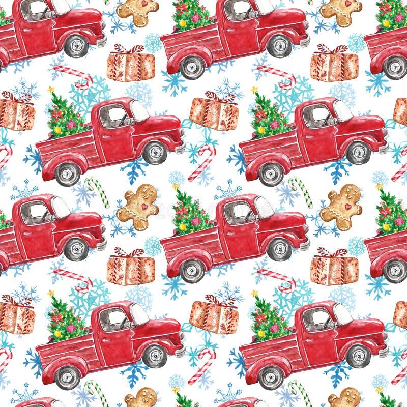 Χειμερινό σχέδιο χωρίς νερό, χειμώνας χωρίς ραφή με κόκκινο χριστουγεννιάτικο φορτηγό, χριστουγεννιάτικο δέντρο, ζαχαροκάλαμο, ψω διανυσματική απεικόνιση