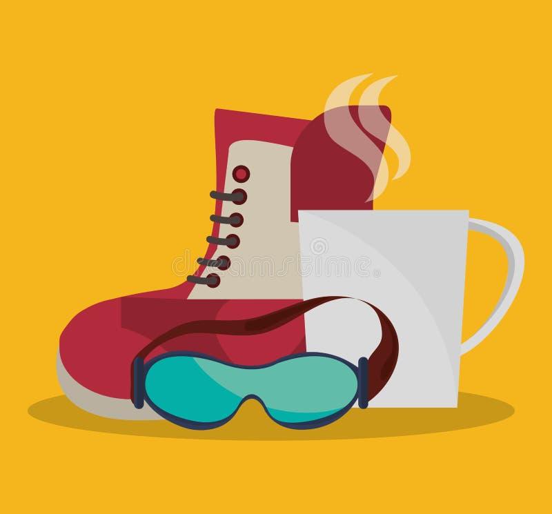 Χειμερινό σχέδιο καφέ γυαλιών και φλυτζανιών μποτών διανυσματική απεικόνιση
