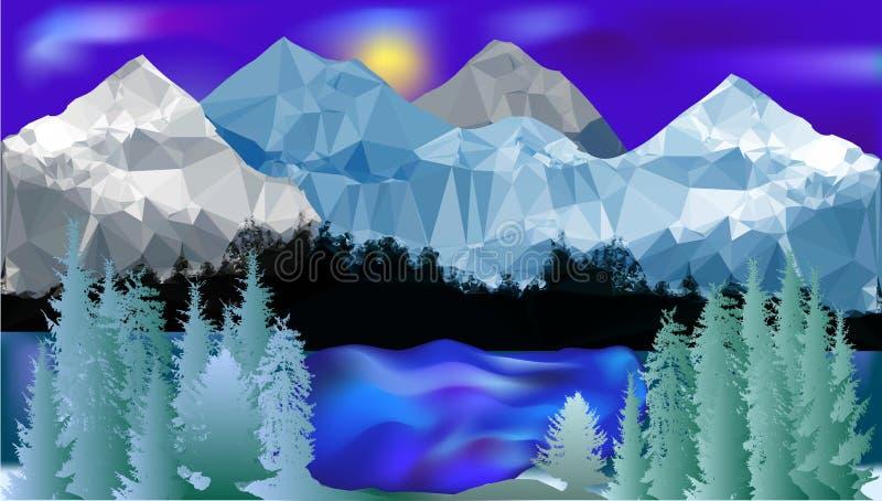 Χειμερινό τοπίο βουνών με τη λίμνη και τα δέντρα ελεύθερη απεικόνιση δικαιώματος