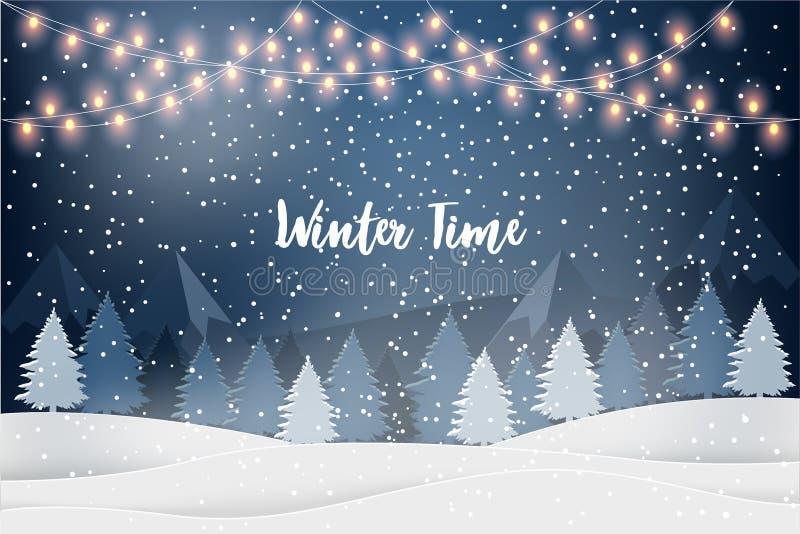 Χειμερινό τοπίο διακοπών για τις νέες διακοπές έτους με τα έλατα, ελαφριές γιρλάντες, μειωμένο χιόνι απεικόνιση αποθεμάτων