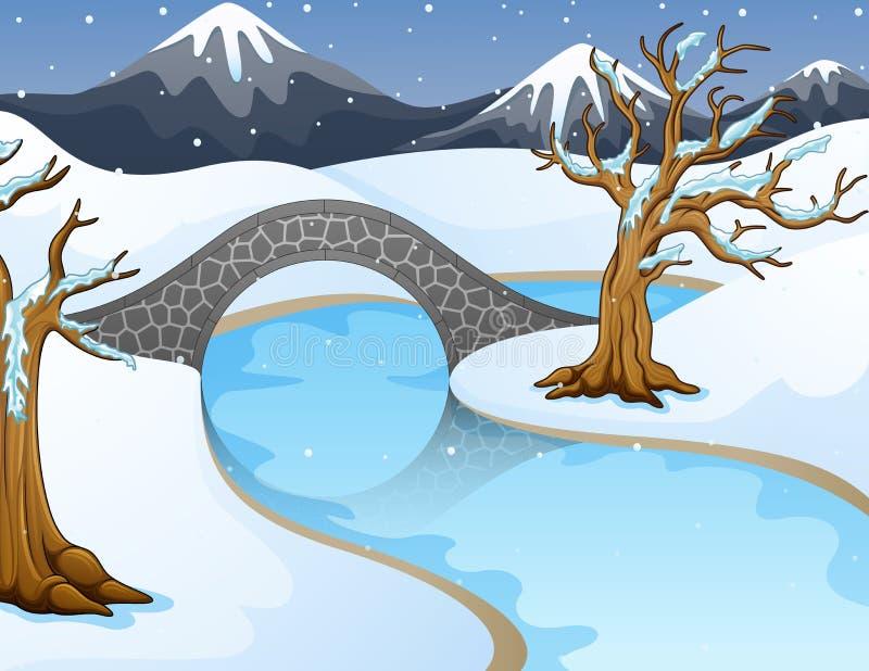 Χειμερινό τοπίο κινούμενων σχεδίων με τα βουνά και μικρή γέφυρα πετρών πέρα από τον ποταμό απεικόνιση αποθεμάτων