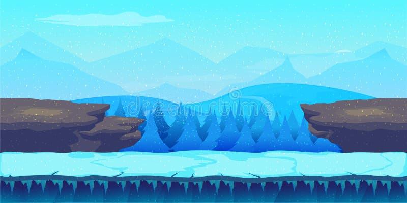 Χειμερινό τοπίο κινούμενων σχεδίων με τον πάγο, το χιόνι και το νεφελώδη ουρανό διανυσματικό υπόβαθρο φύσης για τα παιχνίδια ελεύθερη απεικόνιση δικαιώματος