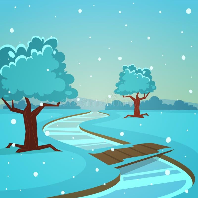 Χειμερινό τοπίο κινούμενων σχεδίων διανυσματική απεικόνιση
