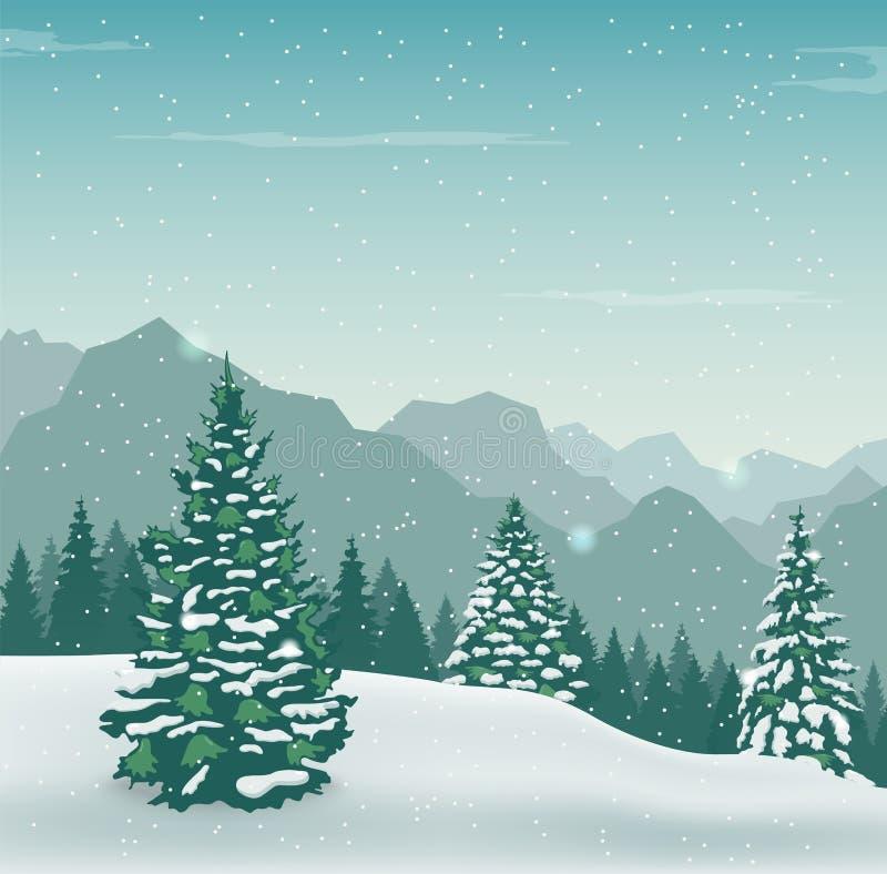 Χειμερινό τοπίο με τα δέντρα και τα βουνά χιονιού οι διακοπές αγοριών βάζουν το χειμώνα χιονιού διάνυσμα διανυσματική απεικόνιση