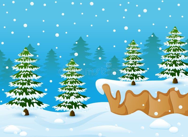 Χειμερινό τοπίο με τα χιονώδη δέντρα εδάφους και έλατου διανυσματική απεικόνιση