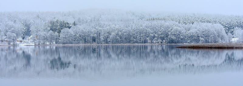 Χειμερινό τοπίο με την αντανάκλαση στο νερό Λίμνη στη Λιθουανία στοκ εικόνες