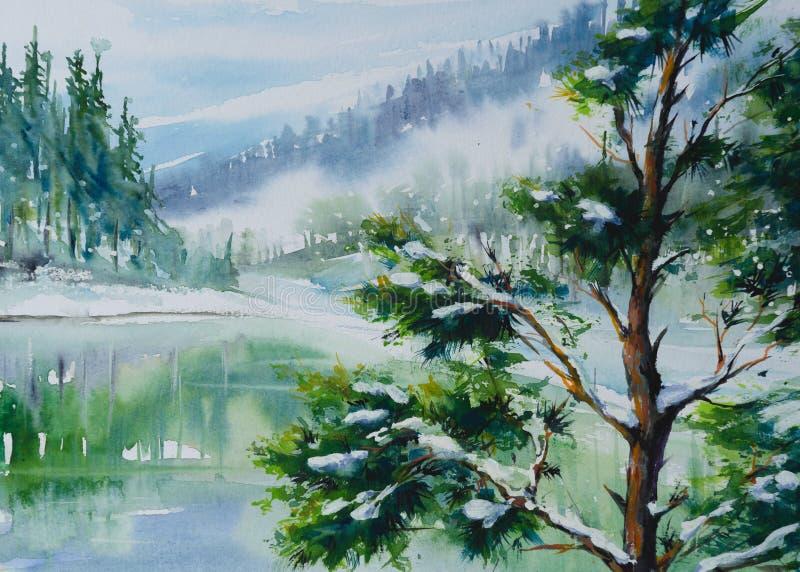 Χειμερινό τοπίο με το δέντρο πεύκων απεικόνιση αποθεμάτων