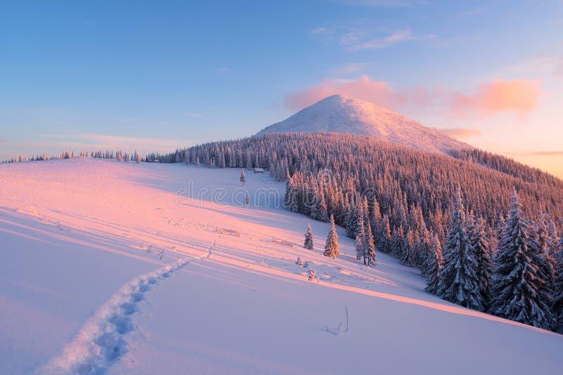 Χειμερινό τοπίο με το μονοπάτι στο χιόνι στα βουνά στοκ φωτογραφίες με δικαίωμα ελεύθερης χρήσης