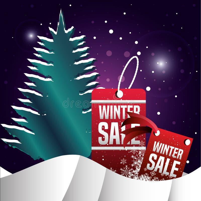 Χειμερινό τοπίο με το πεύκο δέντρων και την πώληση Χριστουγέννων διανυσματική απεικόνιση