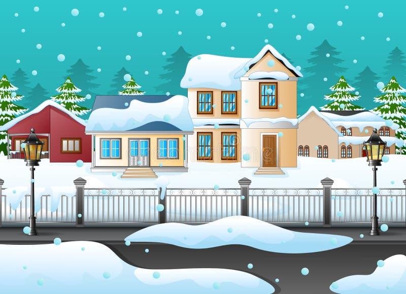 Χειμερινό τοπίο με το σπίτι και χιονώδης στην οδό ελεύθερη απεικόνιση δικαιώματος