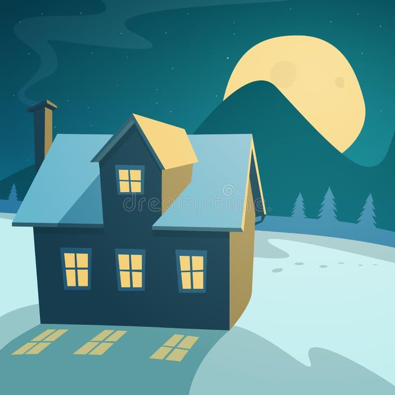 Χειμερινό τοπίο με το σπίτι διανυσματική απεικόνιση