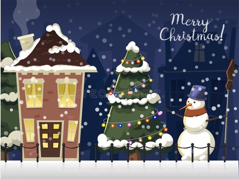 Χειμερινό τοπίο με firtree σπιτιών Χριστουγέννων παγωμένη τη βουνό όμορφη φυσική διανυσματική απεικόνιση ταπετσαριών φύσης ελεύθερη απεικόνιση δικαιώματος