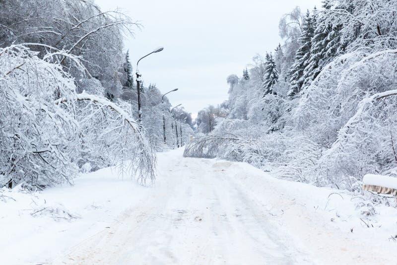 Χειμερινό τοπίο, δρόμος κάτω από τον πάγο και χιόνι στοκ εικόνα με δικαίωμα ελεύθερης χρήσης