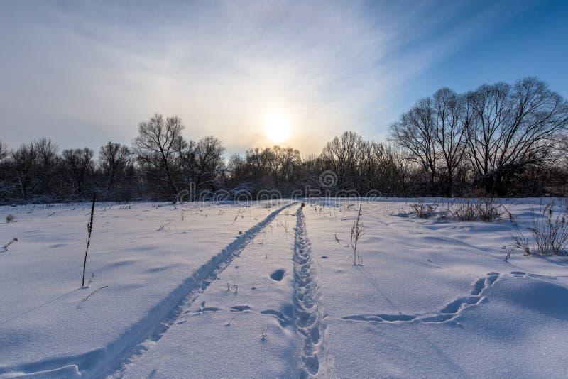 Χειμερινό τοπίο στο ηλιοβασίλεμα τομέας στο χιόνι, ο ήλιος στον ορίζοντα το χιόνι ακτινοβολεί στο παγώνοντας κρύο στοκ εικόνα