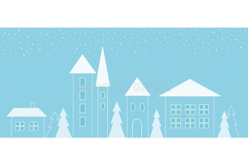 Χειμερινό τοπίο της οδού πόλεων με γεωμετρικές μορφές διανυσματική απεικόνιση